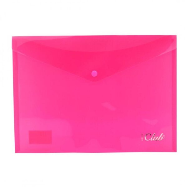 dossier broche plastico a4 traslucido club rosa